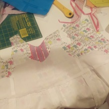 Outer and Lining of romper ready to be attached.