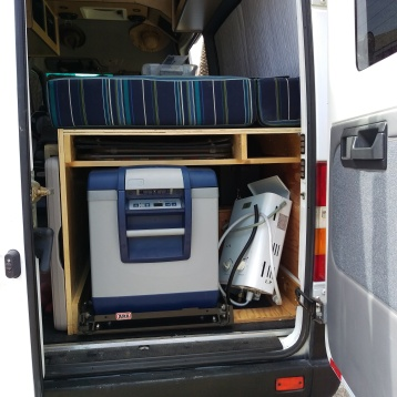 The Fridge in its new home at the rear of the van.
