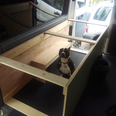 Stella modeling the new underbed frame.